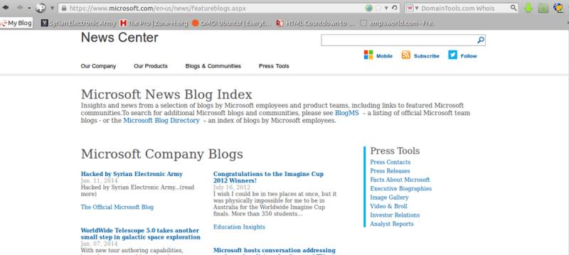 Microsoft blog hacked