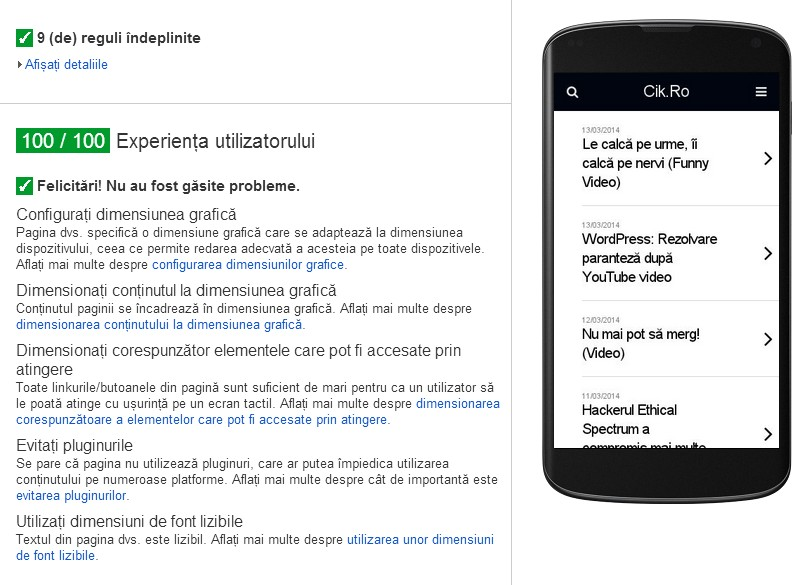 scor Google PageSpeed User Experience
