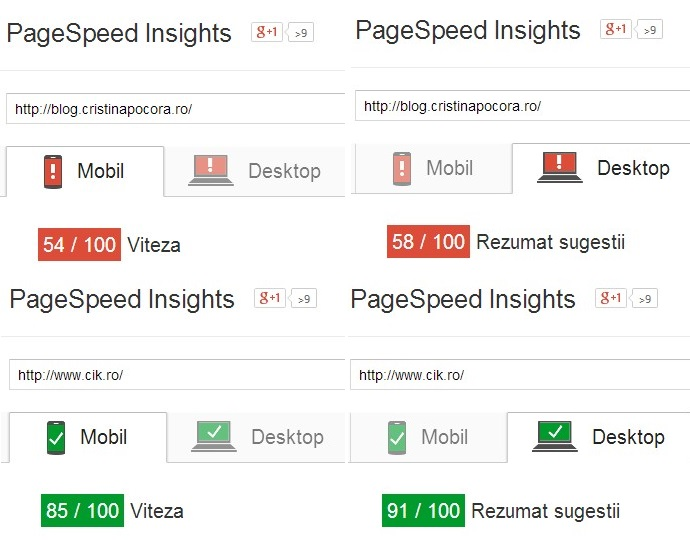 google page speed rezultate