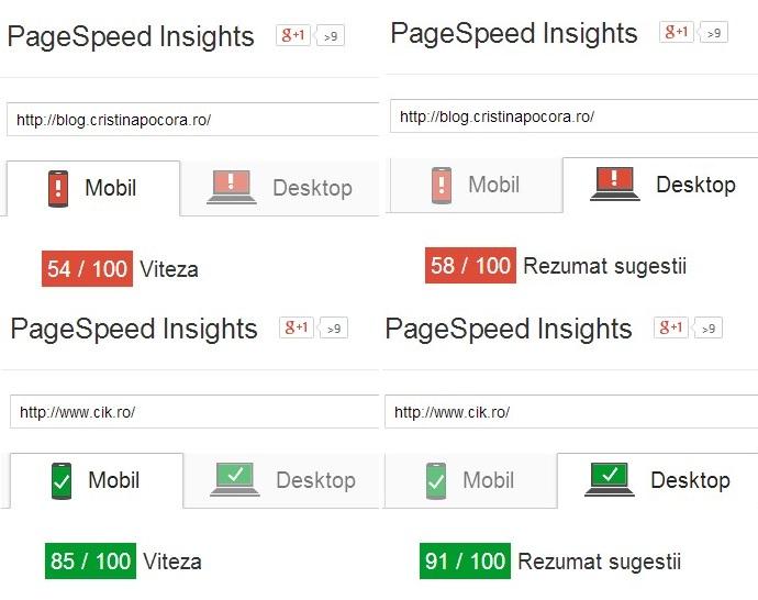google page speed rezultate