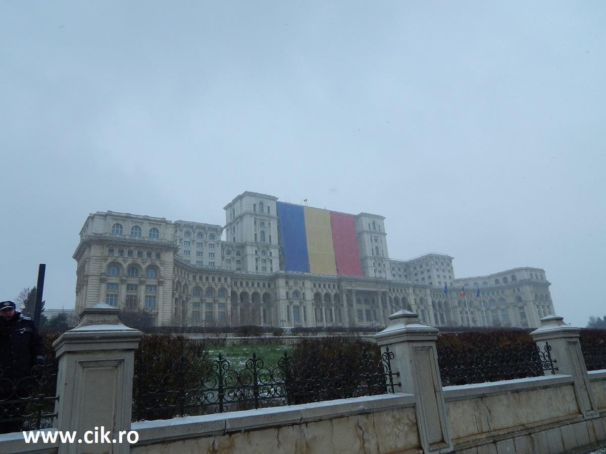 drapel romania palatul parlamentului