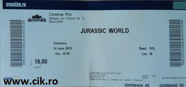 bilet Jurassic World 2015