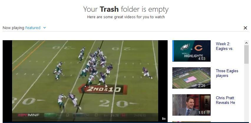 reclame in folderul trash yahoo mail