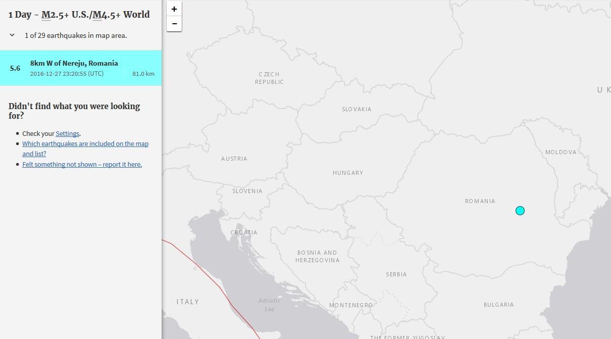cutremur vrancea nereju intensitate decembrie 2016