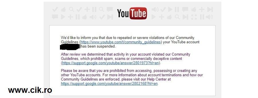 cont google youtube inchis din greseala automat