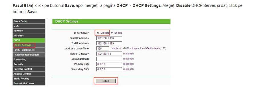 dhcp tp link router depeater dezactivat