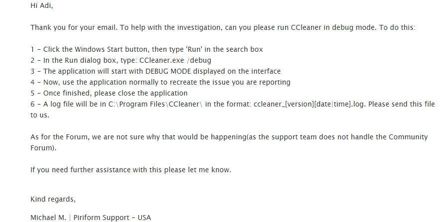 ccleaner raspuns suport tehnic