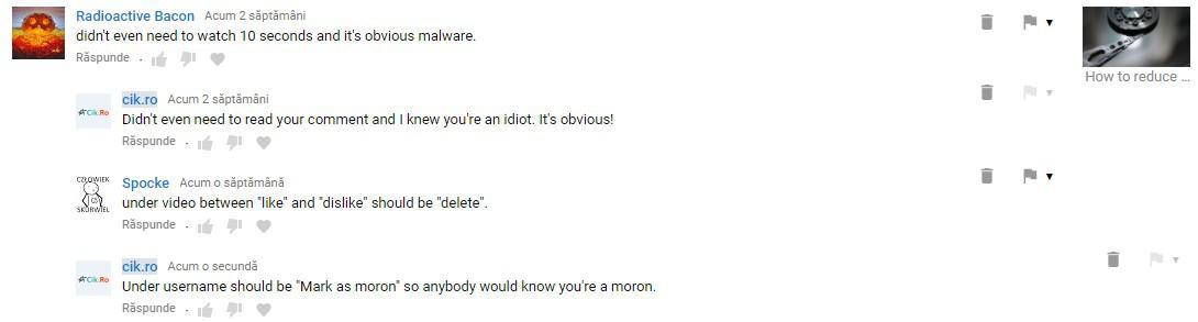 comentarii idioate pe youtube si jigniri
